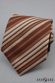 Barna nyakkendő aranycsíkkal