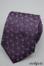 Sötét lila nyakkendő finom virágok