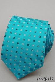 Türkiz nyakkendő kis kockákkal