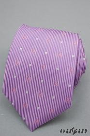 Lila nyakkendő csíkkal és ezüst négyzetekkel