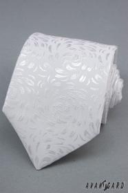 Fehér nyakkendő, csillogó minta