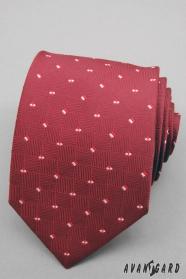 Piros férfi nyakkendő kis négyzetekkel