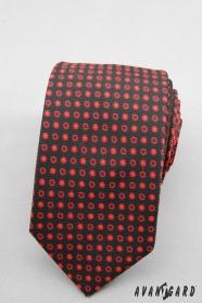 Fekete nyakkendő SLIM piros pontokkal
