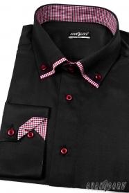 Fekete slim-fit hosszú ujjú ing