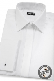 Fehér rejtett gombolású mandzsettás ing