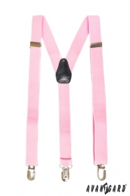 Rózsaszín nadrágtartók Y alakú, fekete bőrrel
