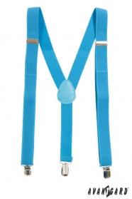 Türkiz nadrágtartó Y-alakú melltartó kék bőrrel, fém klipek