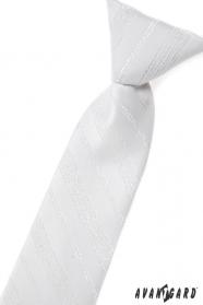 Fehér baba nyakkendő, ezüst mintával