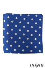 Kék díszzsebkendő nagy ezüst pöttyöskel