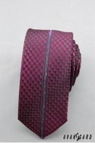 Keskeny nyakkendő lila mintával