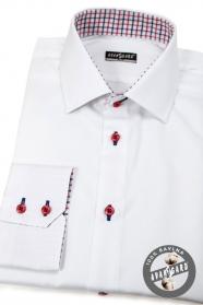 Hosszú ujjú fehér férfi ing piros gombokkal