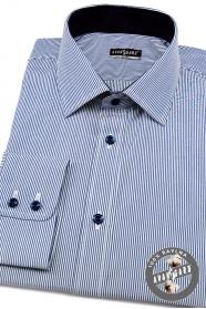 Kék-fehér vékony csíkos slim fit hosszú ujjú ing