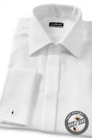 Rejtett gombolású fehér slim fit mandzsettagombos férfiing