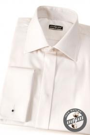 Krémszínű slim-fit rejtett gombolású ing