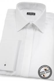 Fehér rejtett gombolású slim fit férfiing