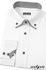 Fehér SLIM ing hosszú ujjú, fekete kiegészítőkkel