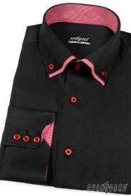 Fekete slim-fit hosszú ujjú ing piros betéttel