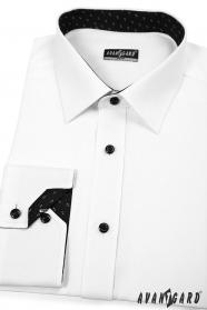 Fehér slim fit férfiing fekete betéttel