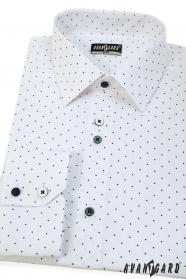 Fehér slim férfi ing, kék pontokkal, hosszú ujjú