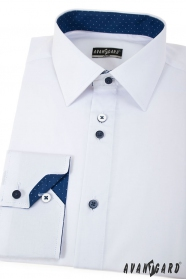 Fehér slim ing, kék kiegészítőkkel, hosszú ujjú