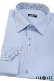 Kék férfi slim ing, belső mintával, hosszú ujjú