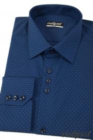 Kék slim férfi ing, finom pöttyökkel, hosszú ujjú