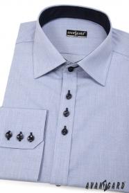 Kék slim-fit férfiing sötét gombokkal