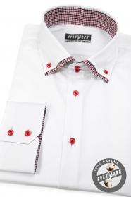 Fehér ing SLIM hosszú ujjú, piros gombok