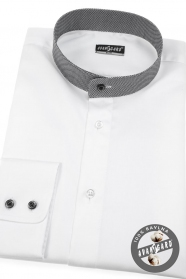 Fehér slim-fit körgalléros férfiing, kockás gallér