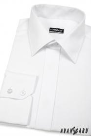 Fehér rejtett gombolású slim fit elegáns férfiing