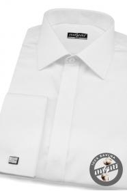 Fehér rejtett gombolású slim-fit férfiing fényes gombokkal
