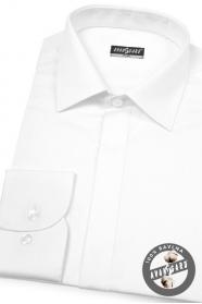 Fehér slim-fit rejtett gombolású ing fényes gombokkal