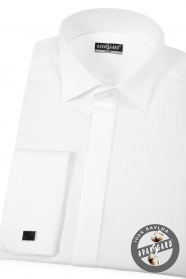 Fehér szmoking slim ing dupla mandzsettával