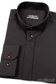 Fekete hosszú ujjú ing két gombos gallérral