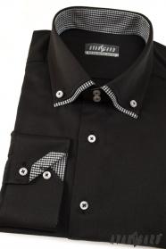 Fekete hosszú ujjú ing kockás belsővel