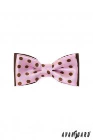 Mini rózsaszín csokornyakkendő barna pöttyökkel