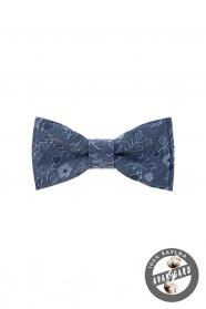 Virágos mintás kék mini pamut csokornyakkendő