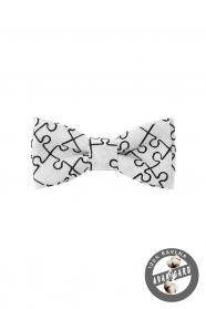 Puzzle mintás fehér mini csokornyakkendő