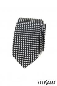Fekete-szürke kockás keskeny nyakkendő