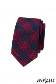 Kék-piros kockás keskeny nyakkendő