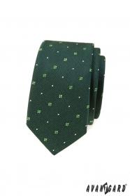 Zöld mintás keskeny nyakkendő