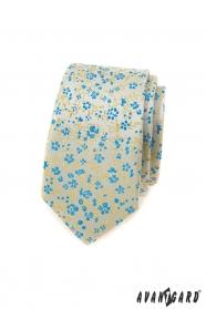 Keskeny férfi nyakkendő, kék és sárga mintával