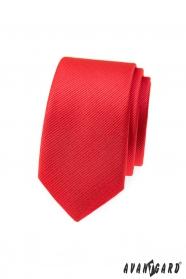 Piros strukturált vékony Avantgard nyakkendő