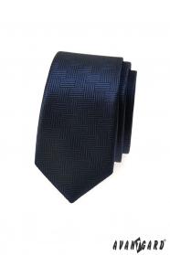 Sötétkék vékony nyakkendő szaggatott struktúra