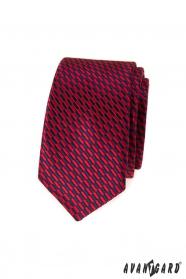 Keskeny nyakkendő piros-kék téglalapok