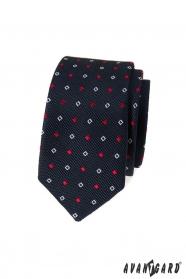 Kék keskeny nyakkendő fehér-kék mintával