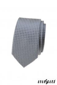 Szürke keskeny nyakkendő kockás mintával