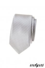 Szürke kockás keskeny nyakkendő