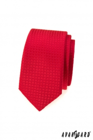 Piros kockás keskeny nyakkendő