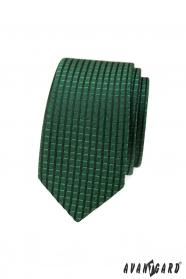 Zöld keskeny nyakkendő kockás 3D mintával